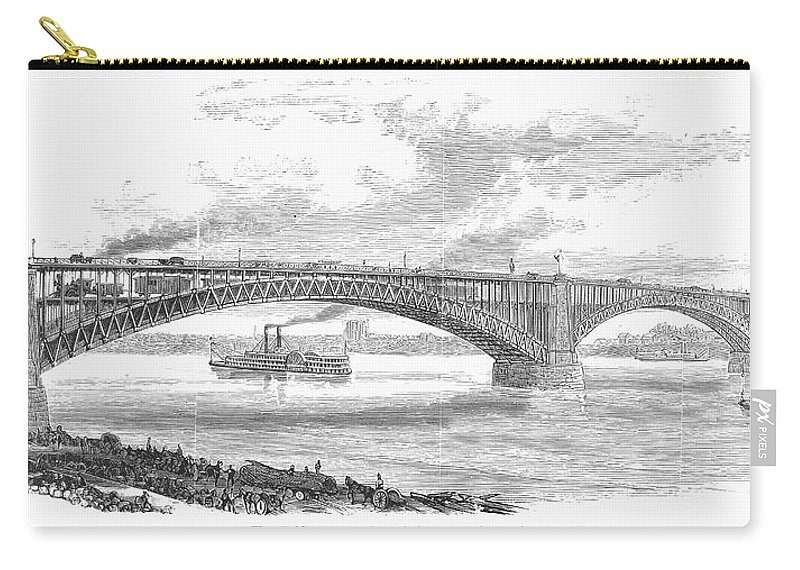 19th Century Carry-all Pouch featuring the photograph Eads Bridge, St Louis by Granger