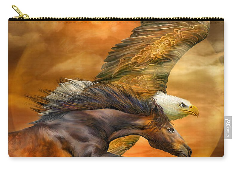 Carol Cavalaris Carry-all Pouch featuring the mixed media Eagle And Horse - Spirits Of The Wind by Carol Cavalaris