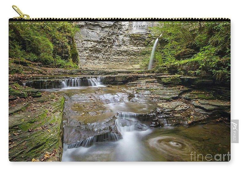 New York Carry-all Pouch featuring the photograph Eagle Falls Havana Glen by Karen Jorstad