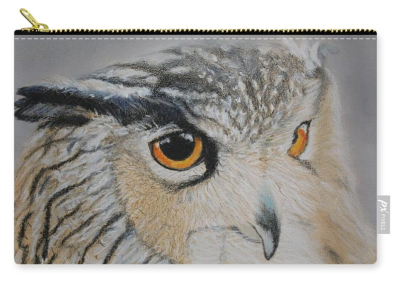 Owl Carry-all Pouch featuring the pastel Eagle Owl by Peter Graore