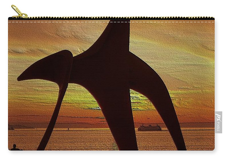 Seattle Carry-all Pouch featuring the digital art Eagle Sunset Over Elliott Bay by Tim Allen