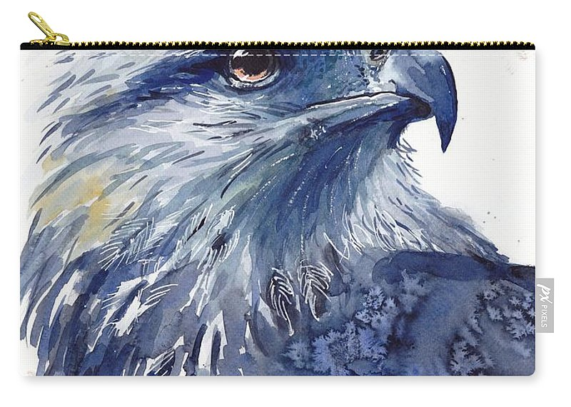 Pigeons Carry-all Pouch featuring the painting Eagle Watercolor by Suzann Sines