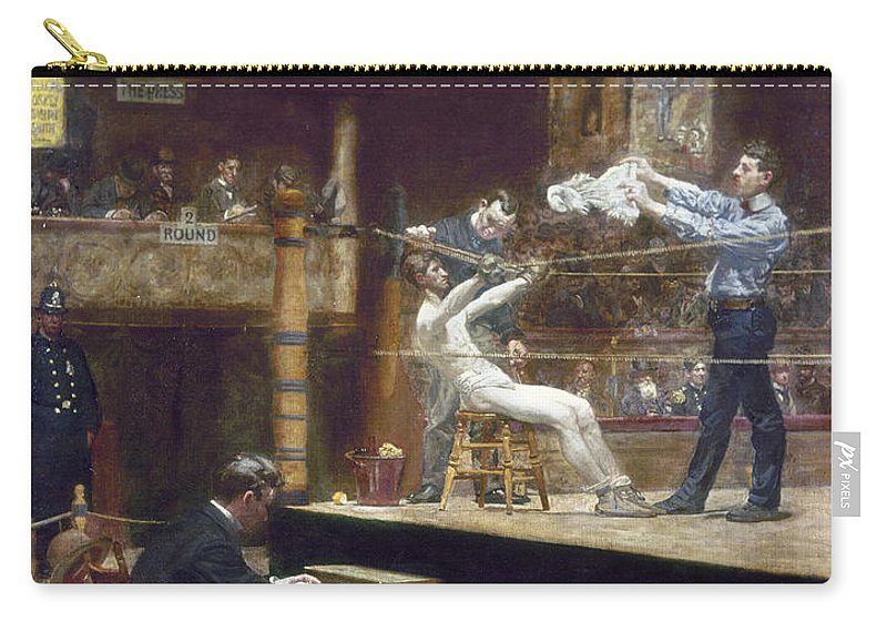 1899 Carry-all Pouch featuring the photograph Eakins: Between Rounds by Granger