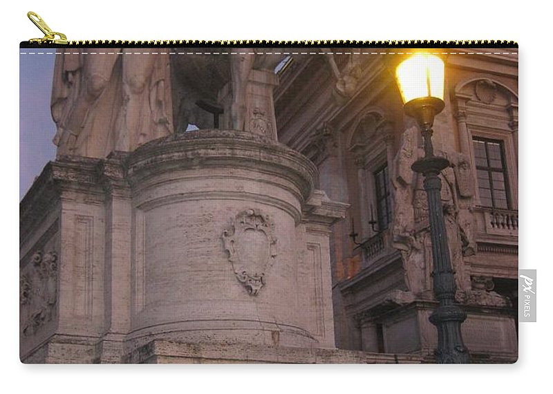 Statue Carry-all Pouch featuring the photograph Early Evening In Rome by John Malone