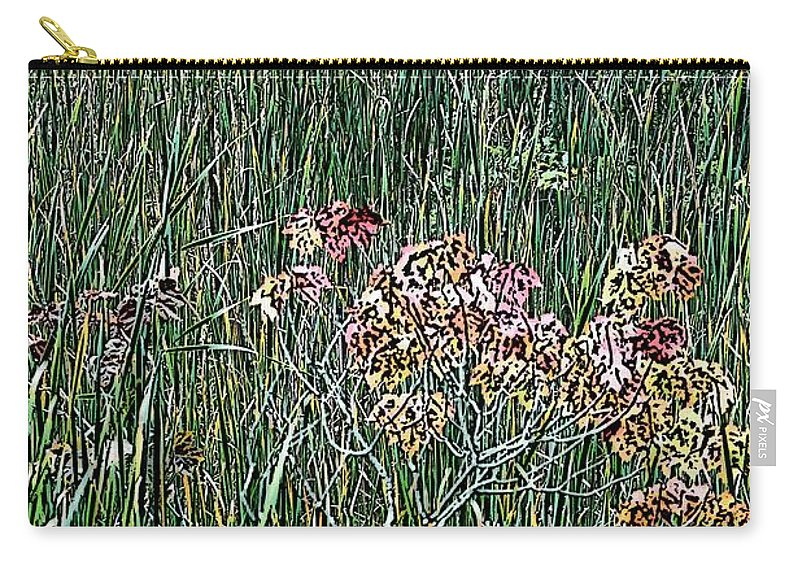 Digital Photograph Carry-all Pouch featuring the photograph Early Fall Color Woodcut by David Lane