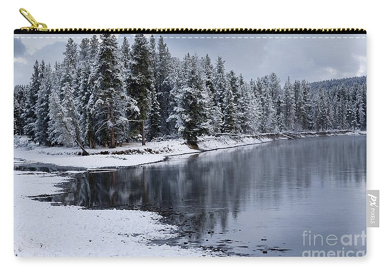 Yellowstone Carry-all Pouch featuring the photograph Early Fall Storm In Yellowstone by Sandra Bronstein