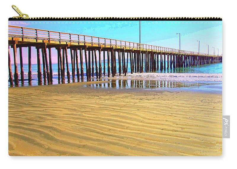 Early Morning At Avila Beach Carry-all Pouch featuring the mixed media Early Morning At Avila Beach by Dominic Piperata