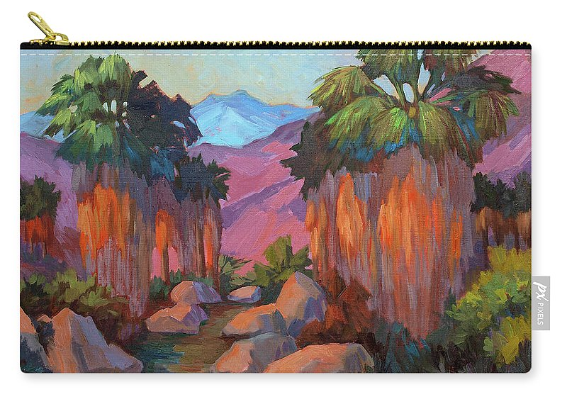 Early Morning Carry-all Pouch featuring the painting Early Morning At Indian Canyon by Diane McClary
