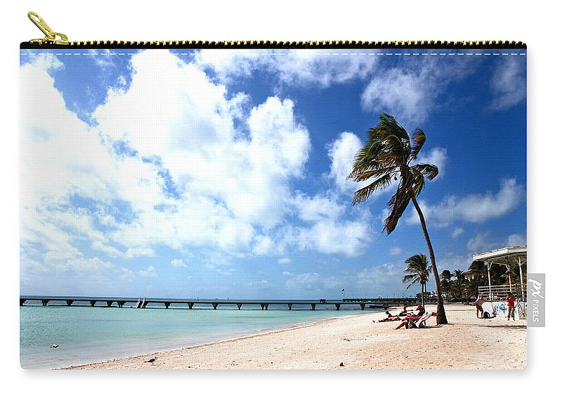 Beach Scene Carry-all Pouch featuring the photograph Early Morning At The Beach by Susanne Van Hulst