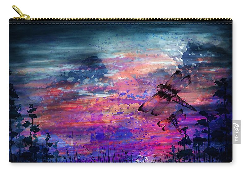 Abstract Carry-all Pouch featuring the digital art Early Morning Flight by Rachel Christine Nowicki