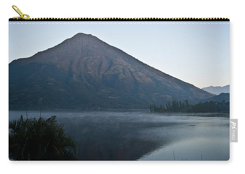 Volcano Carry-all Pouch featuring the photograph Early Morning Mist Lake Atitlan Guatemala by Douglas Barnett
