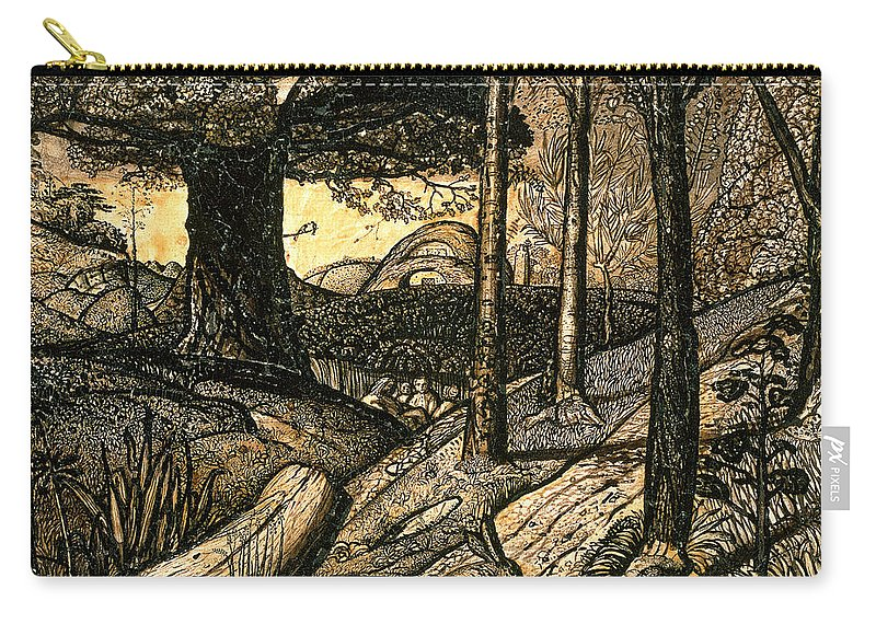 Early Carry-all Pouch featuring the drawing Early Morning by Samuel Palmer