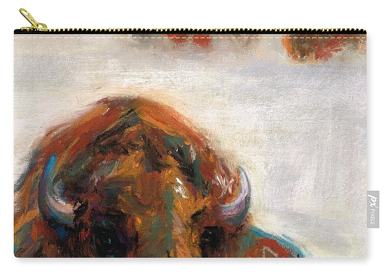 Buffalo Carry-all Pouch featuring the painting Early Morning Snow by Frances Marino