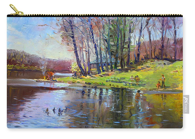 Landsape Carry-all Pouch featuring the painting Early Spring In Bear Mountain by Ylli Haruni
