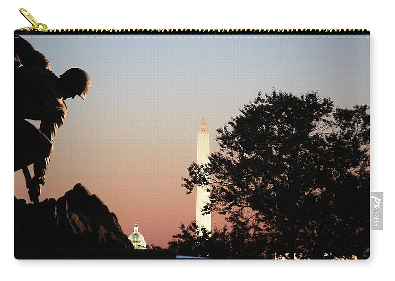 Early Carry-all Pouch featuring the photograph Early Washington Mornings - Cpl Block - For Liberty by Ronald Reid