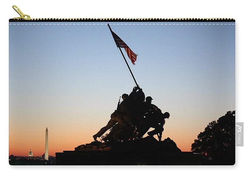 Early Carry-all Pouch featuring the photograph Early Washington Mornings - Iwo Jima Memorial by Ronald Reid