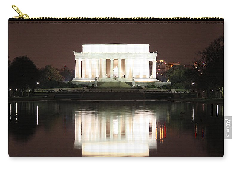 Early Carry-all Pouch featuring the photograph Early Washington Mornings - Lincoln Reflecting by Ronald Reid
