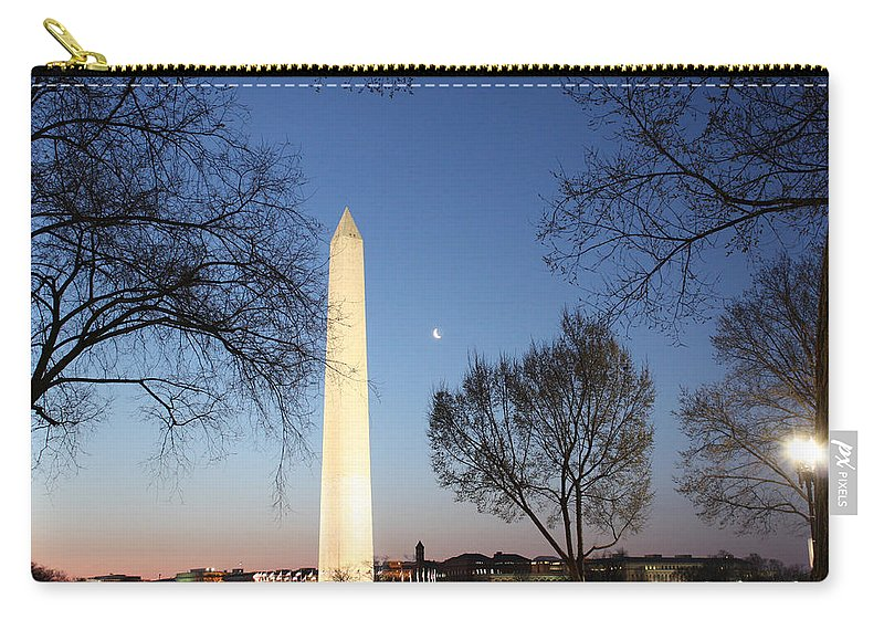 Early Carry-all Pouch featuring the photograph Early Washington Mornings - The Washington Monument by Ronald Reid