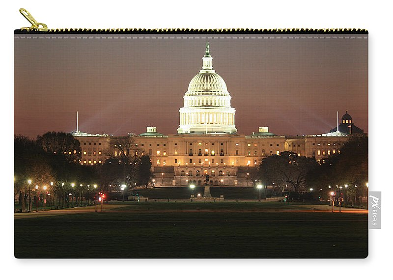 Early Carry-all Pouch featuring the photograph Early Washington Mornings - Us Capitol In The Spotlight by Ronald Reid