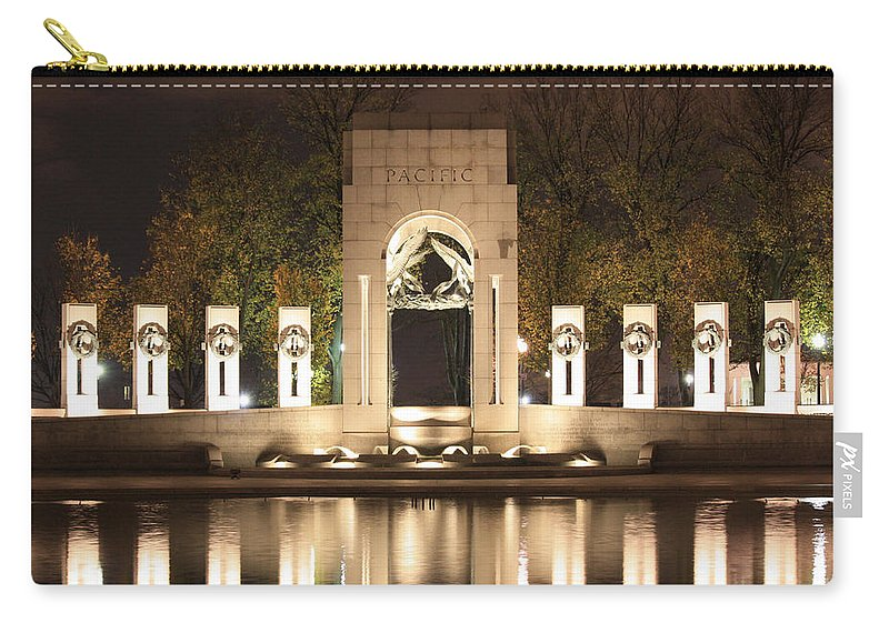 Early Carry-all Pouch featuring the photograph Early Washington Mornings - World War II Memorial - Pacific Theater by Ronald Reid