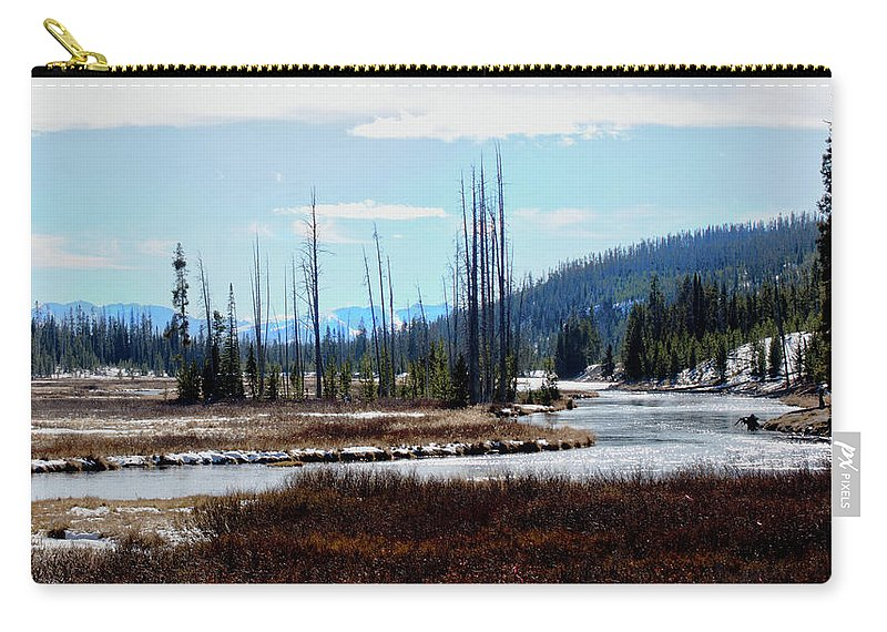 Yellowstone Carry-all Pouch featuring the photograph Early Winter On The Yellowstone by Tracie Fernandez