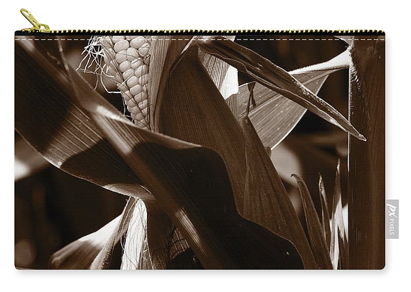 Farm Carry-all Pouch featuring the photograph Ears To You Corn - Sepia by Angela Rath