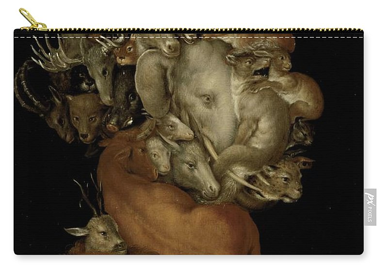 Elephant; Lion; Sheep; Deer; Grotesque; Allegory; Antlers; Horns; Face; Animal; Heads; Head; Game Carry-all Pouch featuring the painting Earth by Giuseppe Arcimboldo