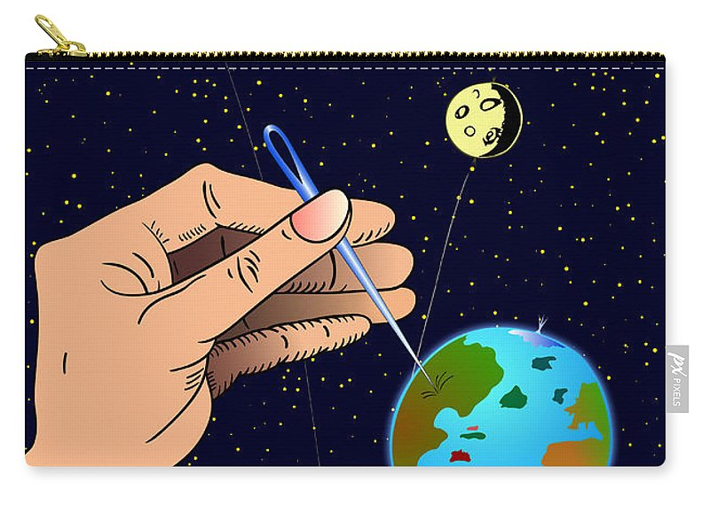 Ironic Carry-all Pouch featuring the digital art Earth Like An Inflatable Balloon by Michal Boubin