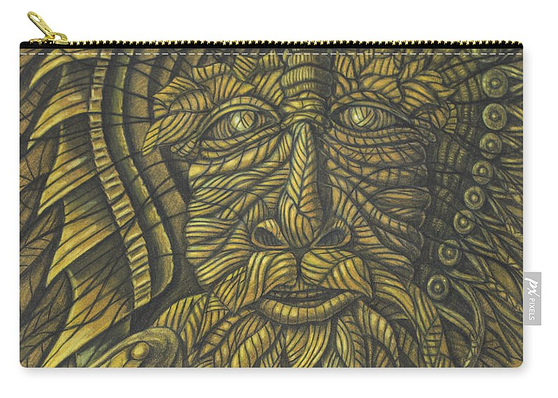 Fine Art Carry-all Pouch featuring the drawing Earth Warrior by Scott Brennan