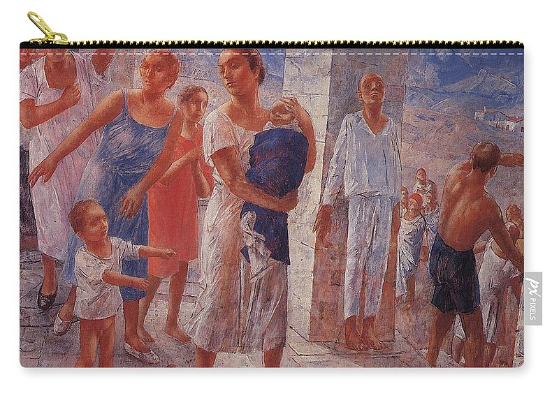 Girl Carry-all Pouch featuring the painting Earthquake In Crimea Kuzma Petrov-vodkin - 1927-1928 by Kuzma Petrov-Vodkin