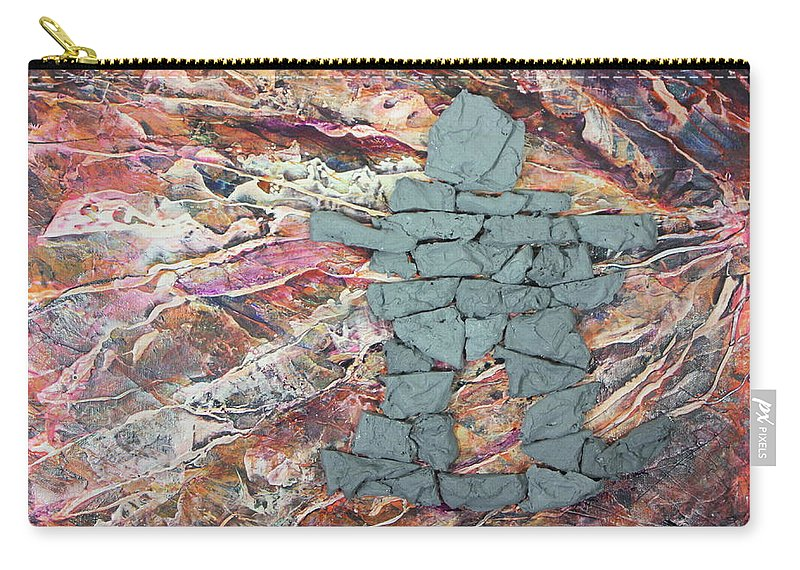 Carry-all Pouch featuring the painting Earthwaves Inukshuk by Madeleine Arnett