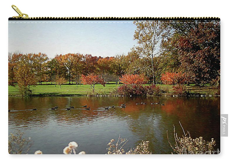 Fall Carry-all Pouch featuring the digital art East Coast Autumn by Elisabeth Lucas
