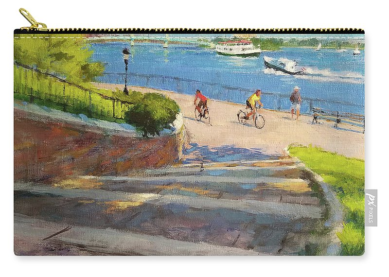Landscape Painting Carry-all Pouch featuring the painting East River From Carl Schurz Park by Peter Salwen