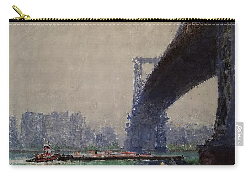 Landscape Painting Carry-all Pouch featuring the painting East River Mist by Peter Salwen