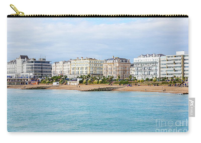 Coastal Famous Landmark Landmarks Picturesque Shore Boulevard Building Summers Spring Autumn Britain British England English Uk Europe European Beautiful View Pier Panorama Panoramic Landscape Travel Traveling Bay Tourism Destination Town City Scene Sightseeing Holiday Vacation Scenery Blue Sky Water Popular Sight Clouds Cloudy Coast Coastline Hotel Hotels Architecture Buildings Attraction Eastbourne Beach Seafront Seaside Sea Front Resort Carry-all Pouch featuring the photograph Eastbourne 1 by Marcin Rogozinski