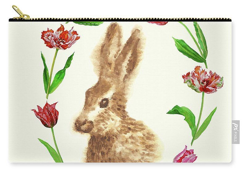 Easter Carry-all Pouch featuring the digital art Easter Background With Rabbit by Natalia Piacheva