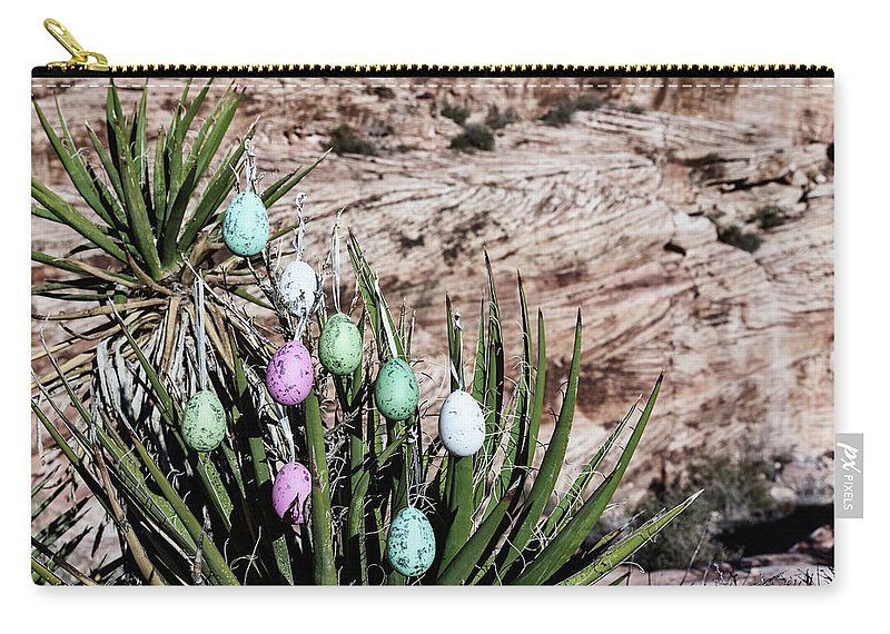Evgeniya Lystsova Carry-all Pouch featuring the photograph Easter Eggs On The Tree by Evgeniya Lystsova