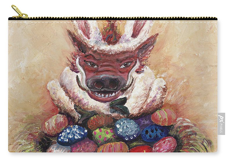 Easter Carry-all Pouch featuring the painting Easter Hog by Nadine Rippelmeyer