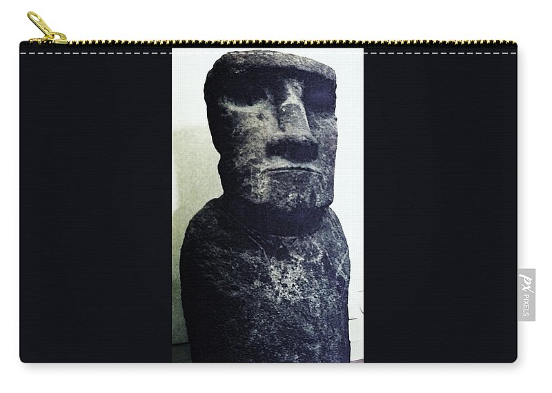 Easter Island Carry-all Pouch featuring the painting Easter Island Stone Statue by Eric Schiabor
