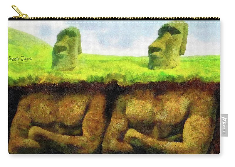 Anakena Carry-all Pouch featuring the painting Easter Island Truth by Leonardo Digenio