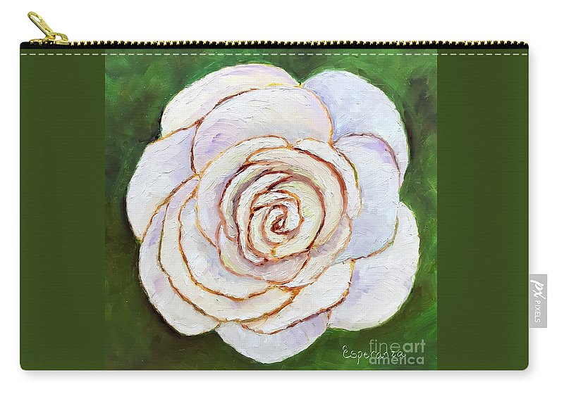 White Rose Painting Carry-all Pouch featuring the painting Easter Rose by Esperanza Arato