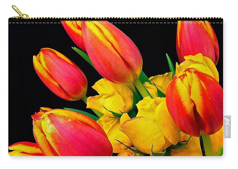 Tulip Carry-all Pouch featuring the photograph Easter Tulips And Roses by Marie Hicks