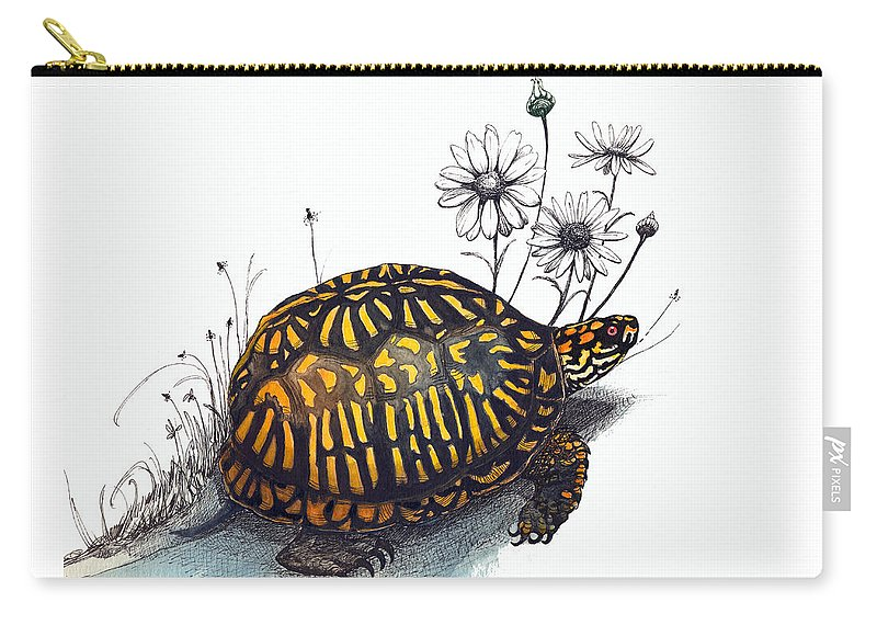 Eastern Box Turte Carry-all Pouch featuring the drawing Eastern Box Turtle by Katherine Miller