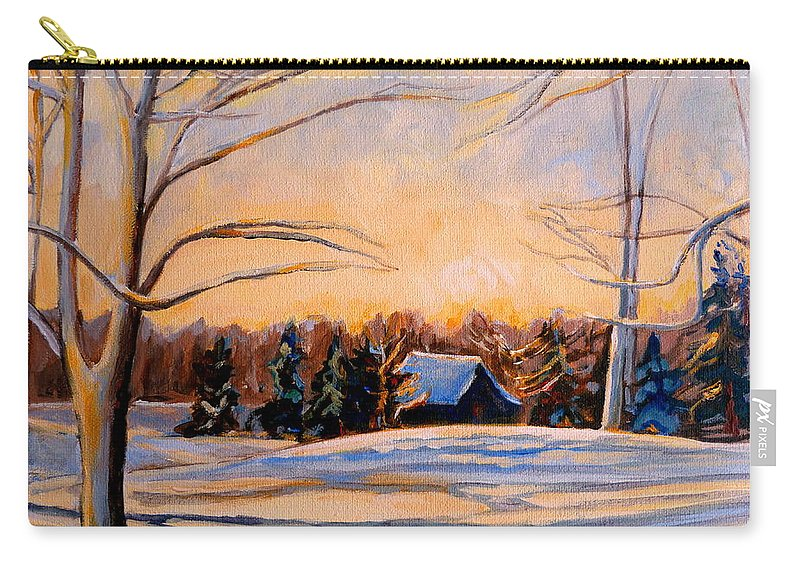 Winter Landsacape Carry-all Pouch featuring the painting Eastern Townships In Winter by Carole Spandau