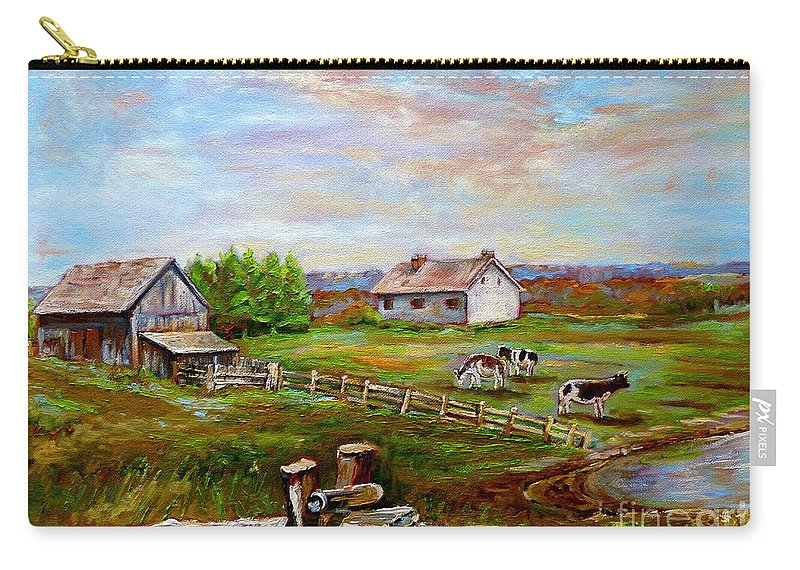 Ile D'orleans Carry-all Pouch featuring the painting Eastern Townships Quebec Country Scene by Carole Spandau