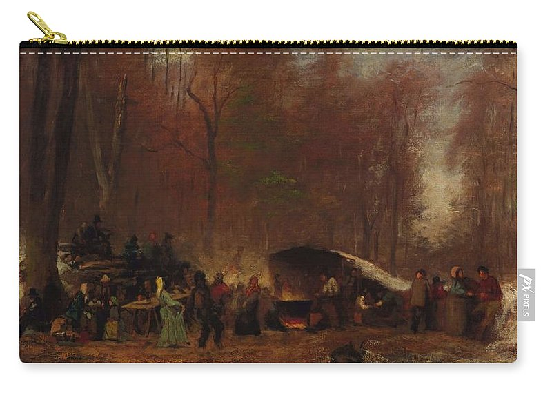 Nature Carry-all Pouch featuring the painting Eastman Johnson - A Different Sugaring Off - Circa 1865 by Eastman Johnson