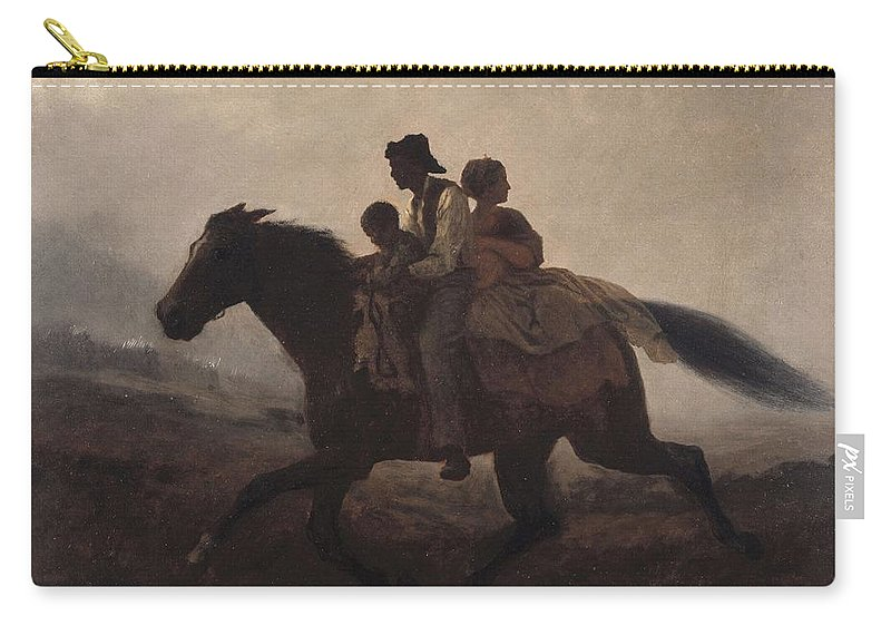 Man Carry-all Pouch featuring the painting Eastman Johnson - A Ride For Liberty--the Fugitive Slaves 1862 by Eastman Johnson