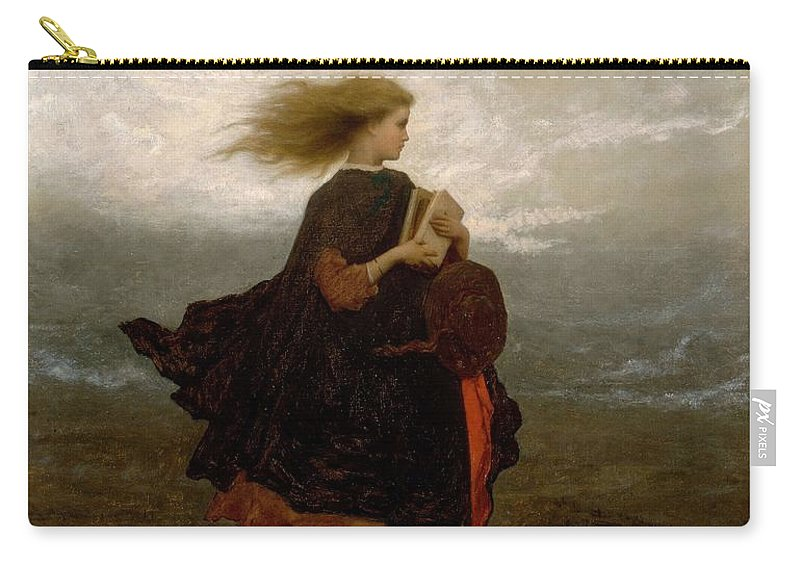 Girl Carry-all Pouch featuring the painting Eastman Johnson - The Girl I Left Behind Me by Eastman Johnson