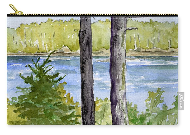 Landscape Seascape Trees Ocean Sea Maine Carry-all Pouch featuring the painting Eastport Maine Coastal Afternoon by Brenda Owen