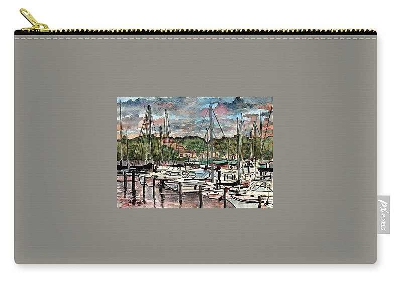 Sailboat Carry-all Pouch featuring the painting Eau Gallie Seascape Painting by Derek Mccrea